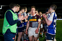 Jake Hennessey (KCS Wimbledon) of Harlequins U18 leads his side down a tunnel of Sale Sharks U18 players after Harlequins U18 win the match - Rogan Thomson/JMP - 16/02/2017 - RUGBY UNION - Sixways Stadium - Worcester, England - Wasps U18 v Exeter Chiefs U18 - Premiership Rugby Under 18 Academy Finals Day 3rd Place Play-Off.