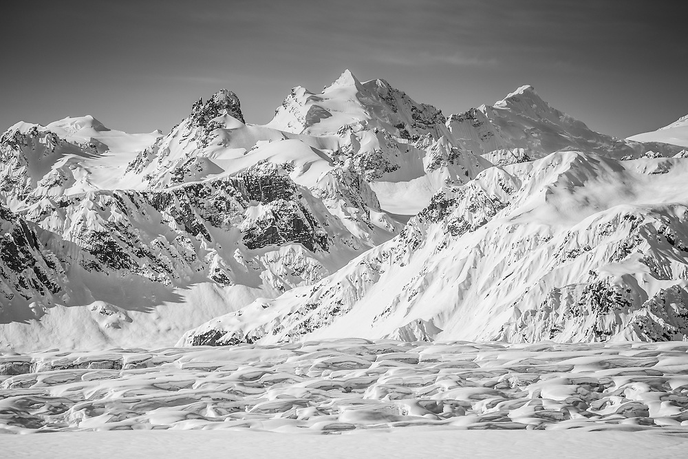 The Tordrillo Mountains as seen while filming for The Unrideables near Anchorage, Alaska on April 20th, 2014.