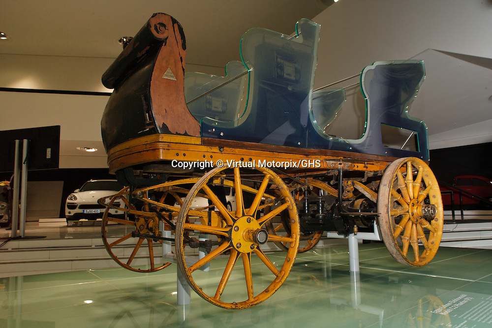 Egger-Lohner electric vehicle, C.2 Phaeton model from 1898, the Porsche P1, at Launch at the Porsche Museum in Stuttgart, Germany, on 27 January 2014