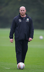 CARDIFF, WALES - Wednesday, October 10, 2012: Wales' assistant coach John Hartson during a training session at the Vale of Glamorgan ahead of the 2014 FIFA World Cup Brazil Qualifying Group A match against Scotland. (Pic by David Rawcliffe/Propaganda)