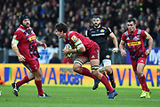 Charlie Matthews of Harlequins breaks away during the Aviva Premiership match between Exeter Chiefs and Harlequins at Sandy Park, Exeter, United Kingdom on 19 November 2017. Photo by Graham Hunt.