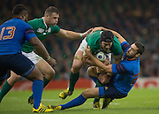 Cardiff, Wales, Great Britain, Sean O'BRIEN with the ball is tackled by Remi TALES, during the Pool D game, France vs Ireland.  2015 Rugby World Cup,  Venue, Millennium Stadium, Cardiff. Wales   Sunday  11/10/2015.   [Mandatory Credit; Peter Spurrier/Intersport-images]