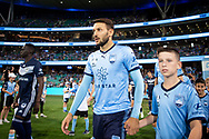 SYDNEY, AUSTRALIA - APRIL 06: Sydney FC midfielder Milos Ninkovic (10) walks onto the field at round 24 of the Hyundai A-League Soccer between Sydney FC and Melbourne Victory on April 06, 2019, at The Sydney Cricket Ground in Sydney, Australia. (Photo by Speed Media/Icon Sportswire)