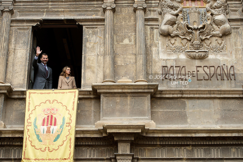 Prince Felipe and Princess Letizia visit Alcaniz village, Teruel, Spain on November 7, 2012