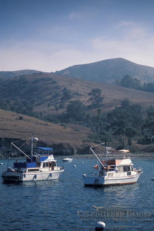 Boats anchored offshore at Two Harbors, Catalina Island, California Coast