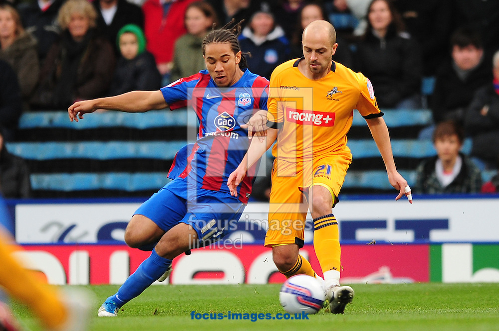 Picture by Alex Broadway/Focus Images Ltd.  07905 628187.26/11/11.Sean Scannell of Crystal Palace and of Jack Smith Millwall during the Npower Championship match at Selhurst Park stadium, London.