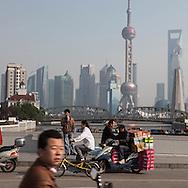 China, Shanghai.Pudong slyline and Waibadu bridge view from the Bund
