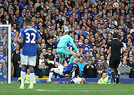 Steven Naismith of Everton clashes with Asmir Begovic of Chelsea during the Barclays Premier League match at Goodison Park, Liverpool.<br /> Picture by Michael Sedgwick/Focus Images Ltd +44 7900 363072<br /> 12/09/2015
