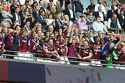 May 27, 2019 - London, England, United Kingdom - Aston Villa players celebrate after winning the EFL Championship Play-Off Final during the Sky Bet Championship Play Off Final between Aston Villa and Derby County at Wembley Stadium, London on Monday 27th May 2019. (Credit Image: © Mi News/NurPhoto via ZUMA Press)