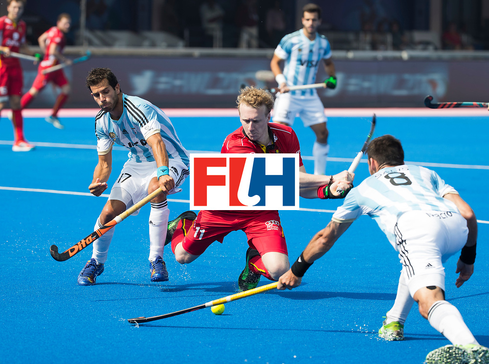 BHUBANESWAR - The Odisha Men's Hockey World League Final . Match ID 03. Argentina v Belgium. Amaury Keusters (Bel) with Nahuel Salis (Arg) and Juan Lopez (Arg) . WORLDSPORTPICS COPYRIGHT  KOEN SUYK