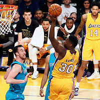 28 February 2017: Los Angeles Lakers forward Julius Randle (30) goes for the layup during the Charlotte Hornets 109-104 victory over the LA Lakers, at the Staples Center, Los Angeles, California, USA.