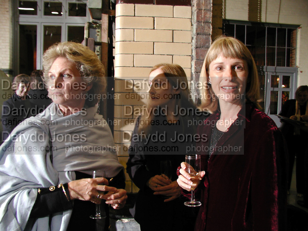 Sarah Douglas, Pauline Moran and Diana Bliss. Opening of the Wapping Project. Wapping Hydrolic Power Station. 12/10/00. © Copyright Photograph by Dafydd Jones 66 Stockwell Park Rd. London SW9 0DA Tel 020 7733 0108 www.dafjones.com