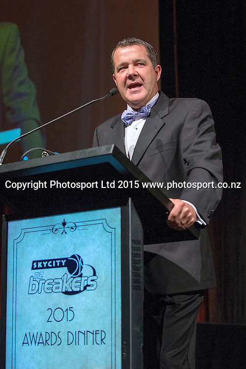 Andrew Dewhurst at the SkyCity Breakers Awards, 2014-15, SkyCity Convention Centre, Auckland, New Zealand, Friday, March 20, 2015. Copyright photo: David Rowland / www.photosport.co.nz