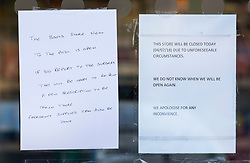 © Licensed to London News Pictures. 04/07/2018. Amesbury, UK. Notices placed in the window inform customers of Boots the chemist athat it is closed -  after a couple named locally as Dawn Sturgess, 44, and her partner Charlie Rowley, 45, were taken ill on Saturday 30th June 2018. Police have confirmed that the couple have been in contact with Novichok nerve agent. Former Russian spy Sergei Skripal and his daughter Yulia were poisoned with Novichok nerve agent in nearby Salisbury in March 2018.Photo credit: Peter Macdiarmid/LNP