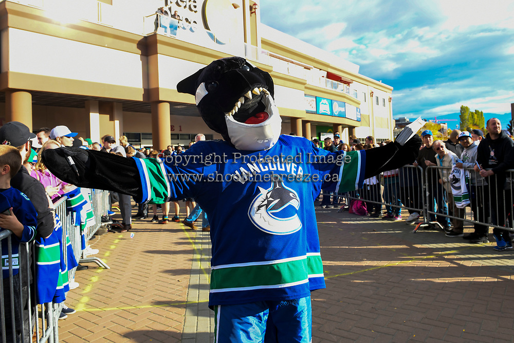 KELOWNA, BC - SEPTEMBER 29:  Fin, the mascot of the Vancouver Canucks stands on the plaza at Prospera Place prior to the final pre-season game against the Arizona Coyotes on September 29, 2018 in Kelowna, Canada. (Photo by Marissa Baecker/NHLI via Getty Images)  *** Local Caption *** Fin;
