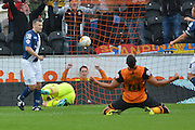 Hull City midfielder David Meyler puts the ball in the back of the net for Hull City to go 1-0 up during the Sky Bet Championship match between Hull City and Birmingham City at the KC Stadium, Kingston upon Hull, England on 24 October 2015. Photo by Ian Lyall.