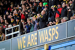 A general view of Wasps supporters in the crowd - Photo mandatory by-line: Patrick Khachfe/JMP - Mobile: 07966 386802 14/12/2014 - SPORT - RUGBY UNION - High Wycombe - Adams Park - Wasps v Castres Olympique - European Rugby Champions Cup