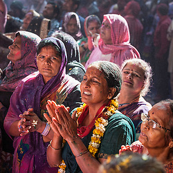 People celebrating Holi festival 2014, Vrindavan, India.