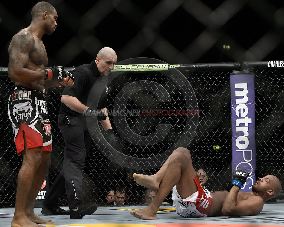 "LONDON, ENGLAND, FEBRUARY 16, 2013: Jimi Manuwa (L) backs off from Cyrille Diabate at the end of a round during ""UFC on Fuel TV 7: Barao vs. McDonald"" inside Wembley Arena in Wembley, London on Saturday, February 16, 2013 (© Martin McNeil)"