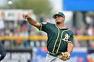 PEORIA, AZ - MARCH 05:  Franklin Barreto #1 of the Oakland Athletics warms up for the spring training game against the Seattle Mariners at Peoria Stadium on March 5, 2017 in Peoria, Arizona.  (Photo by Jennifer Stewart/Getty Images)