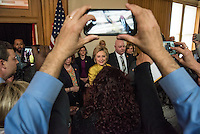 "Hillary Clinton, former Secretary of State and 2016 Democratic presidential candidate, greets supporters during an event at Stanford University in Stanford, California, U.S., on Wednesday, March 23, 2016. In the wake of a series of deadly terrorist attacks in Brussels on Tuesday, the U.S. presidential front-runners clashed over interrogation techniques and whether to stop foreign Muslims from entering the country. ""Our country's most experienced and bravest military leaders will tell you that torture is not effective,"" said Clinton. Photographer: David Paul Morris/Bloomberg *** Local Caption *** Hillary Clinton"