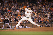 San Francisco Giants starting pitcher Matt Moore (45) pitches against the Colorado Rockies at AT&T Park in San Francisco, Calif., on September 27, 2016. (Stan Olszewski/Special to S.F. Examiner)