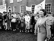 Bridget Butler, leader of the Irish Nurses Organisation, with nurses from all over the country as they march to Dáil Éireann to protest against proposed health cuts.<br />