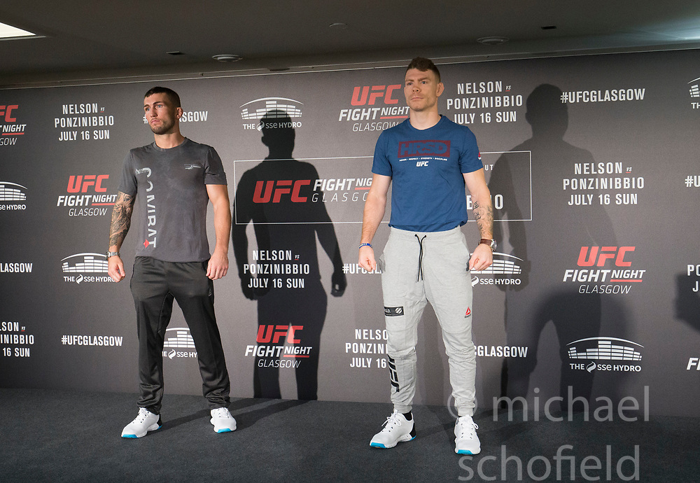 Scot Stevie Ray – UFC lightweight with Paul Felder – UFC lightweight. UFC FIGHT NIGHT: ULTIMATE MEDIA DAY, Castle, Crowne Plaza Glasgow,