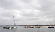 San Diego, California. USA,   2013 San Diego Crew Classic, Mission Bay.  General View, GV, crews attached to Sailing Boats, used as Stae Boats. 09:55:33   Sunday  07/04/2013  [Mandatory Credit. Karon Phillips/Intersport Images]...