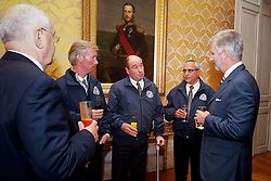 HRH Prince Filip of Belgium talking to Philippe Lejeune Gold medalist from the Alltech FEI World Equestrian Games in Lexington  Kentucky 2010 at the Palace in Brussels<br /> Also on the picture former World Champion Jos Lansink, Ingmar Devos Secretary General of the Belgian Federation and Jacky Buchmann President of the Belgian Federation.<br /> © Dirk Caremans