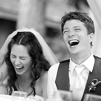 Dan and Lisa react to toasts during their Whistler wedding reception at the Brew Creek Lodge.