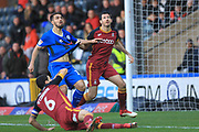Jordan Williams has his shirt pulled in the penalty area during the EFL Sky Bet League 1 match between Rochdale and Bradford City at Spotland, Rochdale, England on 29 December 2018.
