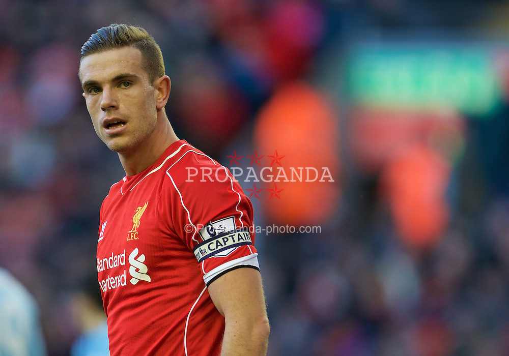 LIVERPOOL, ENGLAND - Saturday, January 31, 2015: Liverpool's captain Jordan Henderson during the Premier League match against West Ham United at Anfield. (Pic by David Rawcliffe/Propaganda)