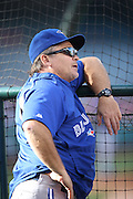 ANAHEIM, CA - AUGUST 2:  John Gibbons #5 manager of the Toronto Blue Jays has a conversation during batting practice before the game against the Los Angeles Angels of Anaheim on Friday, August 2, 2013 at Angel Stadium in Anaheim, California. The Angels won the game 7-5. (Photo by Paul Spinelli/MLB Photos via Getty Images) *** Local Caption *** John Gibbons