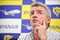 © Licensed to London News Pictures. 31/10/12 Airline Ryanair is to expand its operations and create an estimated 1000 jobs at airports in Liverpool, Manchester and the East Midlands. File picture dated 04/09/2012. London,UK.Michael O'Leary, Ryanair Chief Executive, taking part at a press conference in London.Ryanair launches today a new iPhone/iPad app. Photo credit : Thomas Campean/LNP...