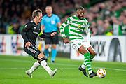 Olivier Ntcham (#21) of Celtic FC holds off Mike Jensen (#7) of Rosenborg BK during the UEFA Europa League group stage match between Celtic FC and Rosenborg BK at Celtic Park, Glasgow, Scotland on 20 September 2018.