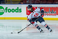 KELOWNA, CANADA - NOVEMBER 17: Giorgio Estephan #9 of the Lethbridge Hurricanes warms up with the puck against the Kelowna Rockets on November 17, 2017 at Prospera Place in Kelowna, British Columbia, Canada.  (Photo by Marissa Baecker/Shoot the Breeze)  *** Local Caption ***