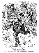 """The Bomberang. Hans of Coblenz (during reprisal). """"I am disappointed in the British!"""" (a German man runs for his life as his city is bombed from the air during WW1)"""