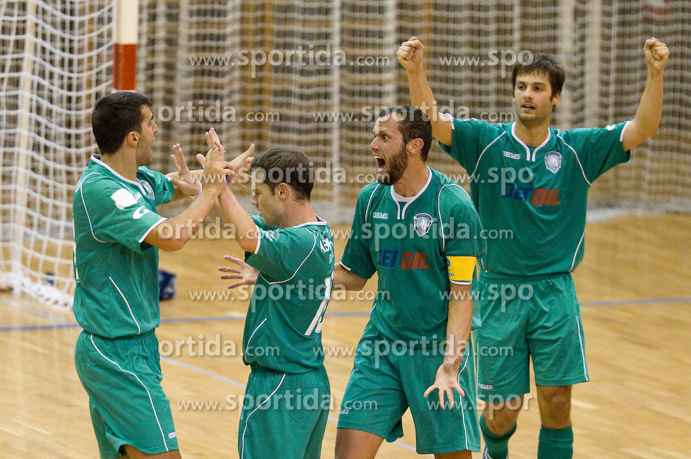 Sokratis Mourdoukoutas, Michail Iliadis Oratios,  Ilias Bousmpouras of Athina celebrate during futsal match between FC Litija and Athina '90 in Main Round of Group I of UEFA Futsal Cup, on September 29, 2011, in Sports hall, Litija, Slovenia.  (Photo by Vid Ponikvar / Sportida)