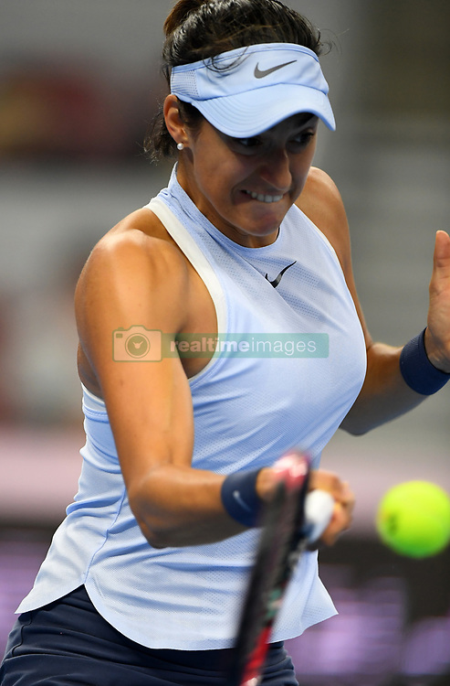 BEIJING, Oct. 8, 2017  Caroline Garcia of France hits a return during the women's singles final against Simona Halep of Romania at the China Open tennis tournament in Beijing, capital of China, on Oct. 8, 2017.  dx) (Credit Image: © Li Jundong/Xinhua via ZUMA Wire)