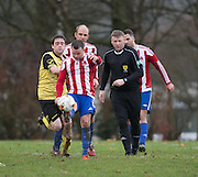 Dundee Saturday Morning Football League sides FC Menziehill (yellow) and DC Athletic (red and white) clashed in the Direct Soccer North of Tay Cup at South Road, Dundee. Photo: David Young<br /> <br />  - © David Young - www.davidyoungphoto.co.uk - email: davidyoungphoto@gmail.com