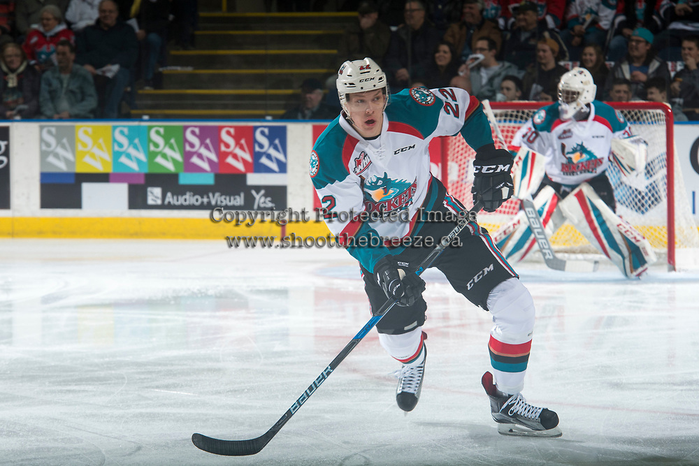 KELOWNA, CANADA - MARCH 24: Braydyn Chizen #22 of the Kelowna Rockets skates against the Kamloops Blazers on March 24, 2017 at Prospera Place in Kelowna, British Columbia, Canada.  (Photo by Marissa Baecker/Shoot the Breeze)  *** Local Caption ***