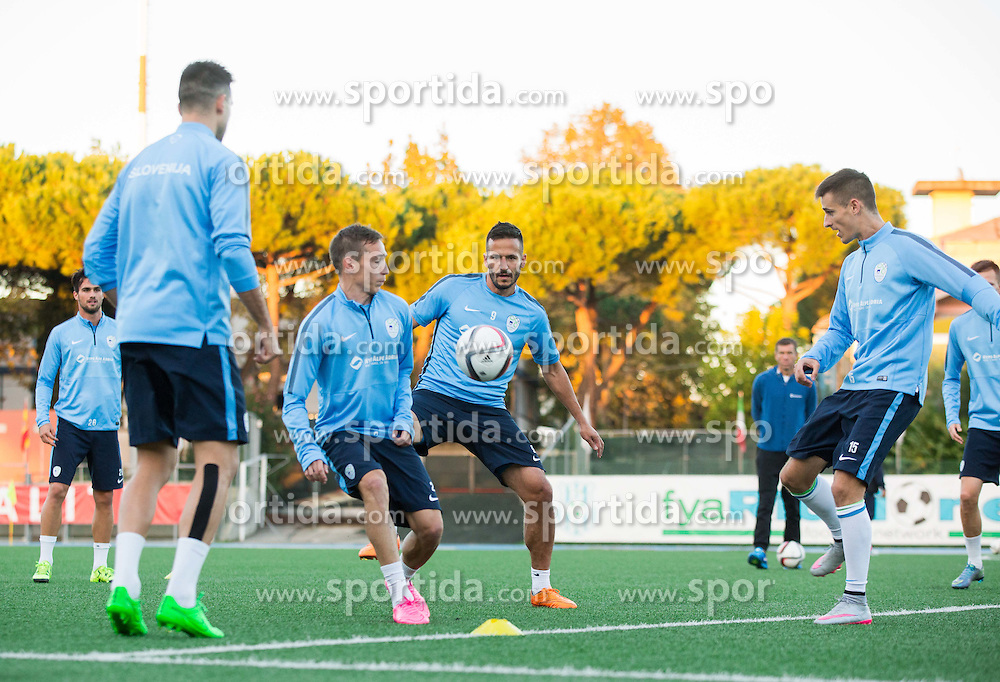 Dejan Trajkovski of Slovenia, Zlatan Ljubijankic of Slovenia during the practice session of Team Slovenia 1 day before EURO 2016 Qualifier Group E match between Slovenia and San Marino, on October 11, 2015 in Riccione, Italy. Photo by Vid Ponikvar / Sportida