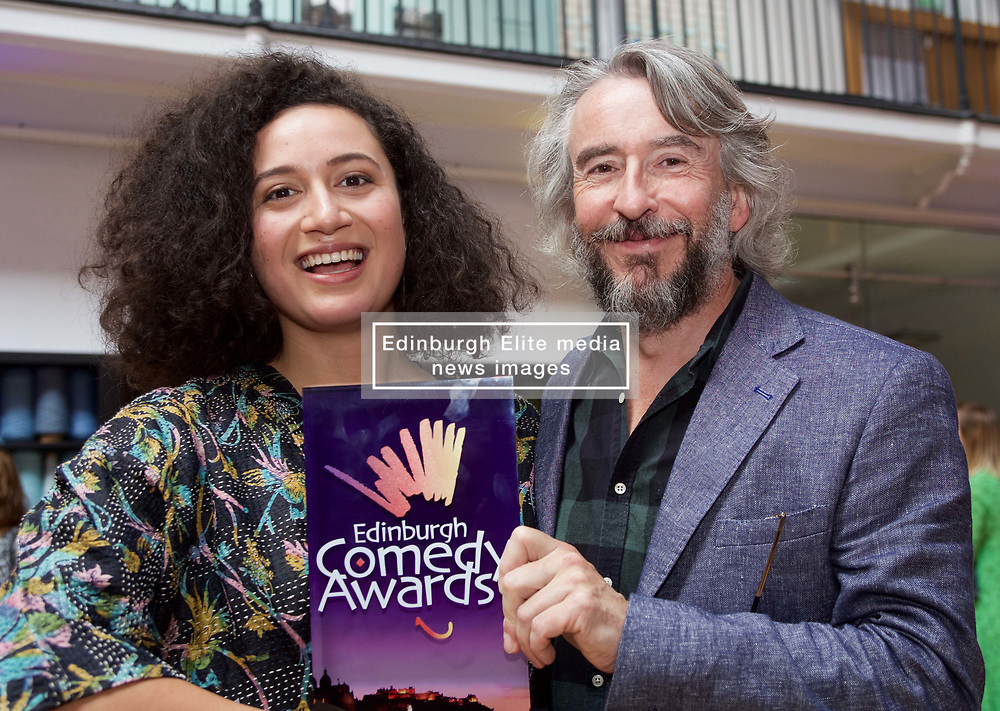 Steve Coogan with New Zealander Rose Matafeo who won the £10,000 prize for Best Comedy Show at the 2018 Edinburgh Comedy Awards. Pic copyright Terry Murden @edinburghelitemedia