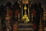 The Emerald Buddha at Wat Phra Kaew (Temple of the Emerald Buddha) in the Dusit area of Bangkok.