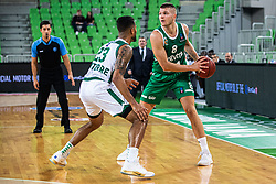 Edo Muric of KK Cedevita Olimpija and Devin Oliver of Nanterre 92 during EuroCup basketball match between teams KK Cedevita Olimpija and Nanterre 92 in Round 4, Arena Stozice, 23. October, Ljubljana, Slovenia. Photo by Grega Valancic / Sportida