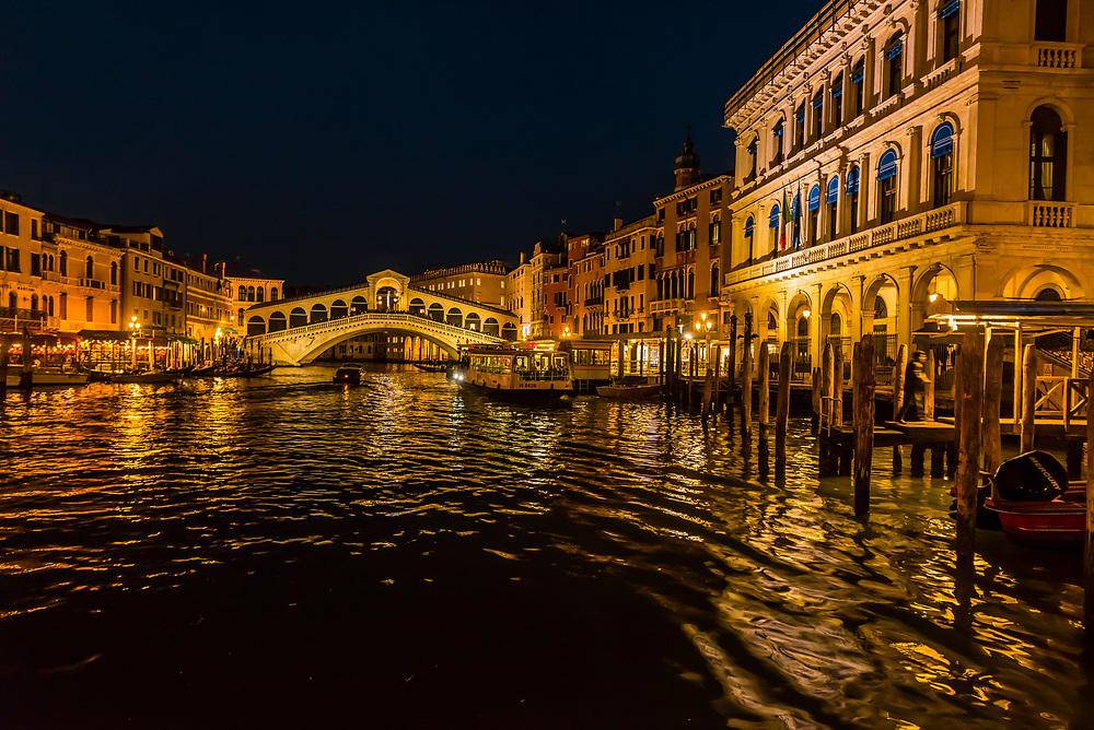 The Grand Canal and Rialto Bridge, Venice, Italy.