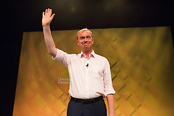 "© Licensed to London News Pictures. 17/09/2016. Brighton, UK. TIM FARRON MP and leader of the Liberal Democrats Party joins guest speakers for a rally on ""a vision for Britain"" during the Liberal Democrats Autumn Conference. Photo credit: Hugo Michiels/LNP"