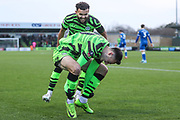 Forest Green Rovers Aaron Collins(10) scores a goal 1-0 and celebrates during the The FA Cup match between Forest Green Rovers and Carlisle United at the New Lawn, Forest Green, United Kingdom on 30 November 2019.