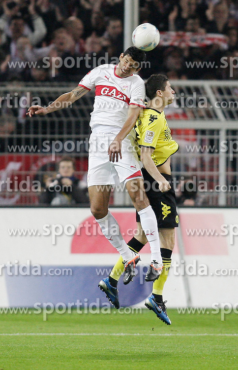 30.03.2012, Signal-Iduna-Park, Dortmund, GER, 1. FBL, Borussia Dortmund vs VfB Stuttgart, 28. Spieltag, im Bild v.l. Kopfballduell zwischen Maza (VfB Stuttgart) und Robert Lewandowski (Borussia Dortmund), Aktion // during the German Bundesliga Match, 28th Round between Borussia Dortmund and VfB Stuttgart at the Signal Iduna Park Stadium, Dortmund, Germany on 2012/03/30. EXPA Pictures © 2012, PhotoCredit: EXPA/ Eibner/ Oliver Vogler..***** ATTENTION - OUT OF GER *****